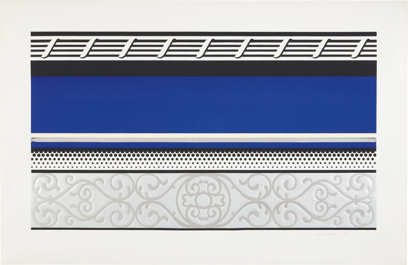 Roy Lichtenstein, 'Entablature V, from Entablature series', 1976, Print, Screenprint, lithograph and collage in colors with embossing, on Rives BFK paper, with full margins., Phillips