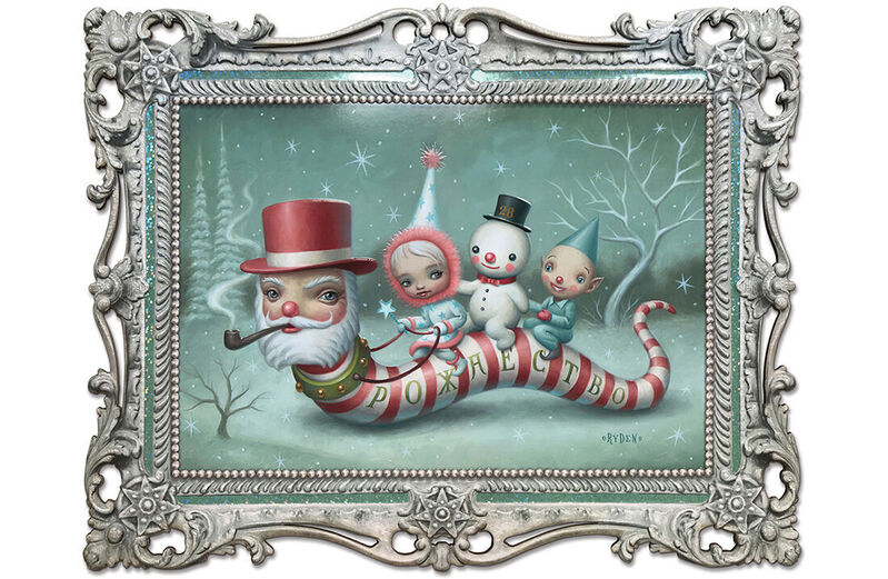 Mark Ryden, 'Santa Worm,', 2019, Print, Printed laser-cut frame, glitter highlights, extensive embossing on both sides. Signed and individually numbered., artempus