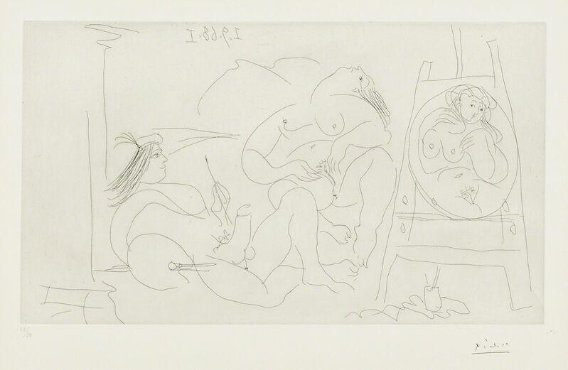 Pablo Picasso, 'Erotic Series (Picasso, Raphael et la Fornarina VI: enfin seuls! Series 347)', 1968, Print, Etching (framed), Rago/Wright/LAMA