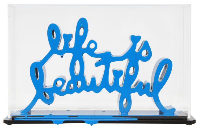 Mr. Brainwash, 'Life Is Beautiful - Dipped Light Blue', 2020, Sculpture, Acrylic dipped cast resin sculpture in plexiglass enclosure, Taglialatella Galleries