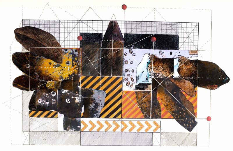 Faraj Daham, 'Coordinates #20', 2008, Drawing, Collage or other Work on Paper, Drawing and collage on  paper, Mathaf: Arab Museum of Modern Art