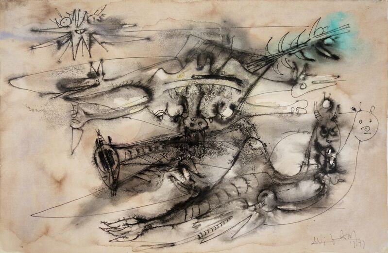 Wifredo Lam, 'Untitled', 1947, Drawing, Collage or other Work on Paper, Pen and Ink, Watercolor and Graphite on Paper, Bill Hodges Gallery