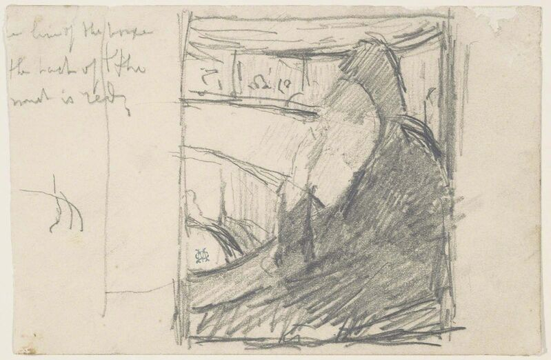 """Mary Cassatt, ' WOMAN WITH OPERA GLASSES (STUDY FOR """"AT THE OPERA"""").', ca. 1878, Drawing, Collage or other Work on Paper, Pencil on paper, Edward T. Pollack Fine Arts"""