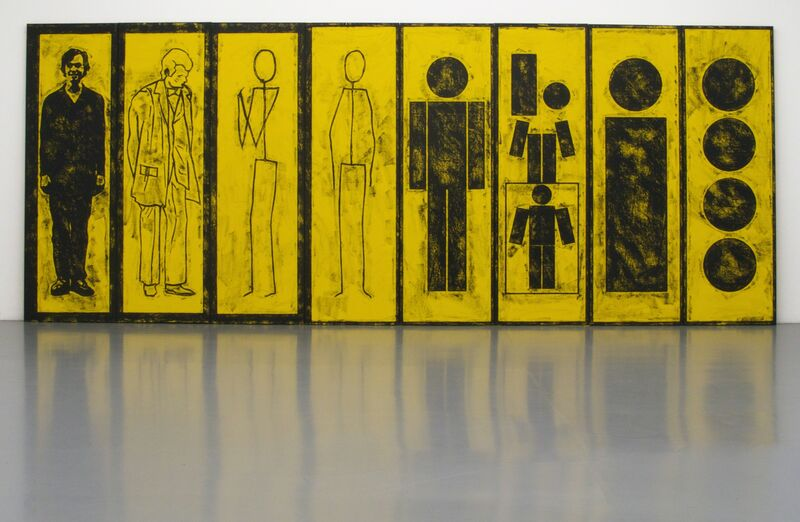 Matt Mullican, 'Untitled (Evolution of Man)', 2012, Painting, Eight oil-stick rubbings on canvas, Micheline Szwajcer