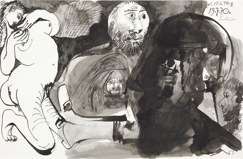 Pablo Picasso, 'Personnages', 1970, Drawing, Collage or other Work on Paper, Brush and pen and India ink and gray wash on paper, Allouche Gallery