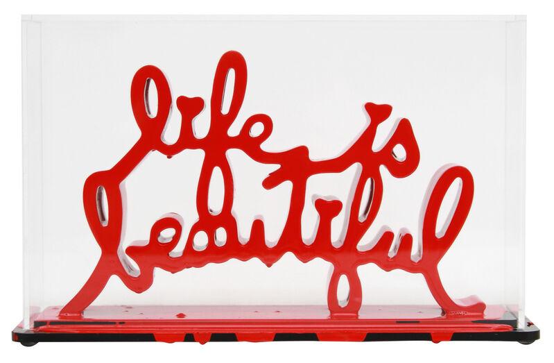 Mr. Brainwash, 'Life Is Beautiful - Dipped Red', 2020, Sculpture, Acrylic dipped cast resin sculpture in plexiglass enclosure, Taglialatella Galleries