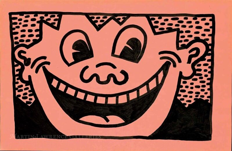 Keith Haring, 'Untitled, 1981 (Smiley Face, pink)', 1981, Print, Ink on paper, signed and dated 'K. Haring SEPT.14 81' on verso, Martin Lawrence Galleries