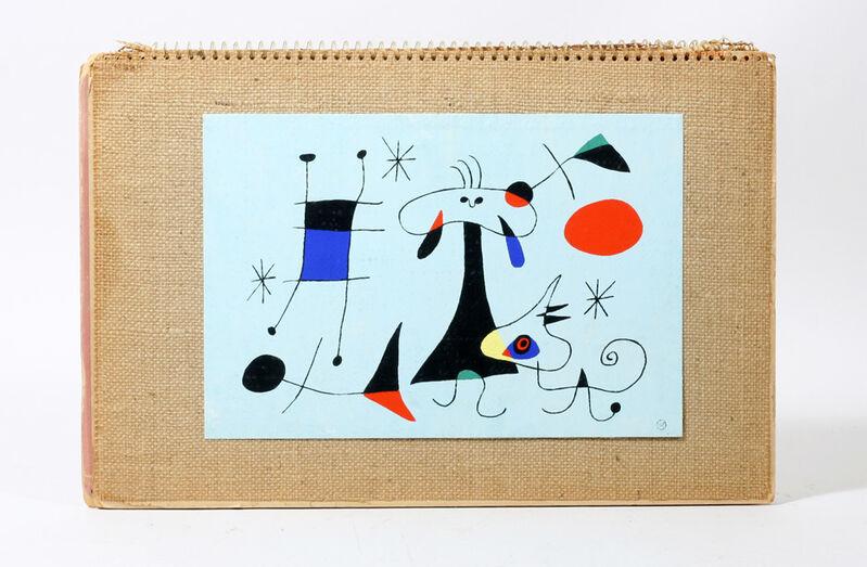 Joan Miró, 'Joan MIRO- Wallpaper Sample, Silk Screen Mounted on Burlap for Catalogue,, Signed in Print.', 1949, Print, Silkscreen on canvas, VINCE fine arts/ephemera