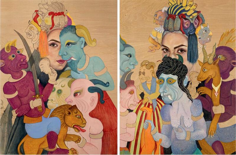 Bahar Sabzevari, 'Party', 2019, Painting, Oil on wood panel, Leila Heller Gallery
