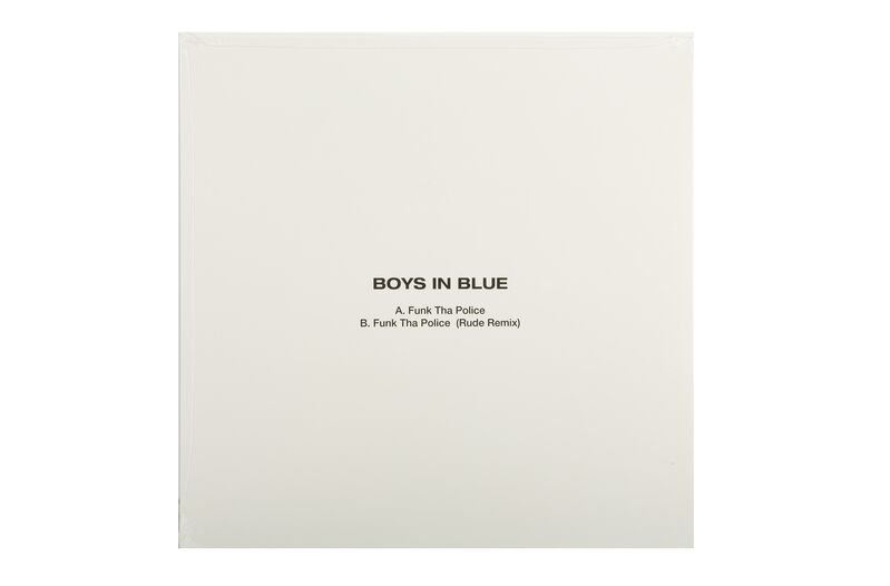 """Banksy, 'Boys In Blue', 2015, Other, Vinyl featuring """"Funk Tha Police"""", 'Rude Copper' screenprint in black and white on record sleeve with vinyl record, Chiswick Auctions"""