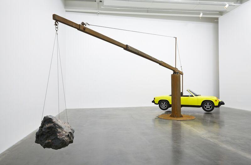 "Chris Burden, 'Porsche with Meteorite. Installation view, ""Chris Burden: Extreme Measures"" at New Museum, New York, 2013', 2013, Installation, Restored 1974 Porsche 914 with 365-pound meteorite, steel frame, New Museum"