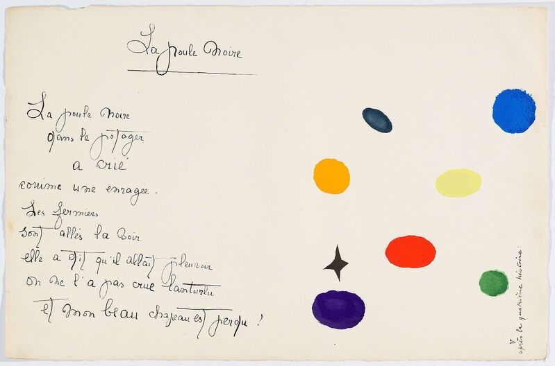 """Joan Miró, '""""Il était une petite pie"""" (There Was a Little Magpie)', 1928, Drawing, Collage or other Work on Paper, Proof of the Pochoirs, Cerbera Gallery"""