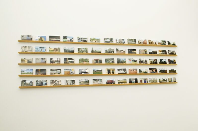 Rivane Neuenschwander, 'Mapa Múndi/BR (Postal)', 2007, Mixed Media, Printed postcards on wood shelves, Guggenheim Museum