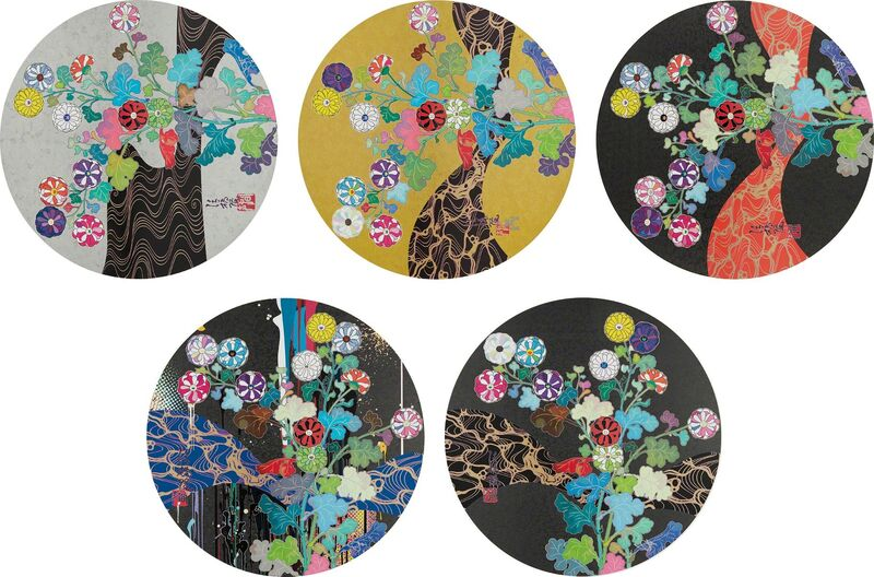 Takashi Murakami, 'A Red River is Visible; Kansei: The Golden Age; Hokkyo Takashi - Kansei; Kansei: Wildflowers Glowing in the Night; and Korin: Stellar River in the Heavens', 2014 and 2015, Print, Five offset lithographs in colors, on smooth wove paper, the full sheets, Phillips