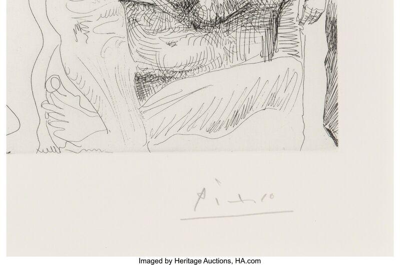 Pablo Picasso, 'Autoportrait transposé et dédoublé rêvant au cirque, avec Jacqueline en acrobate à la boule,  plate 9, from Séries 347', 1968, Print, Etching and drypoint, on Rives BFK paper, with full margins, Heritage Auctions