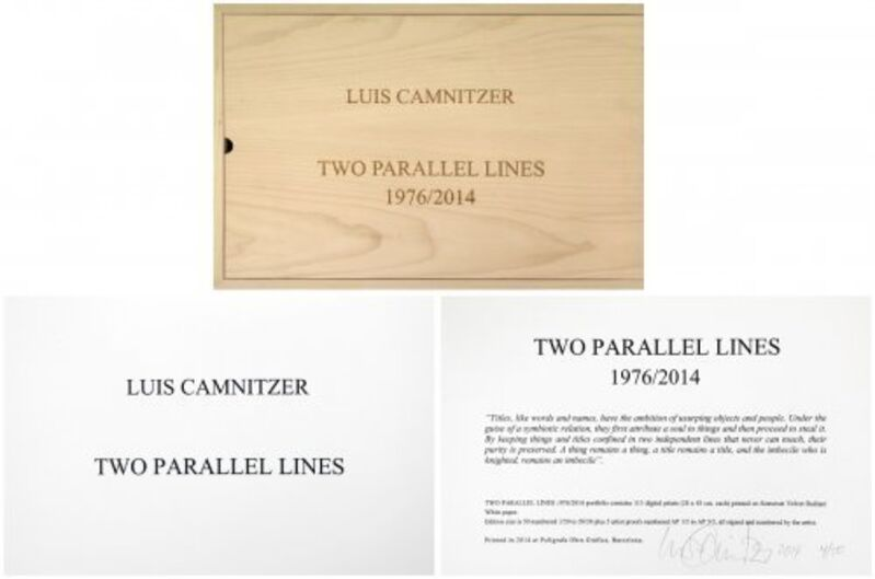 Luis Camnitzer, 'Two Parallel lines', 2014, Print, Digital print on canvas, Composition.Gallery