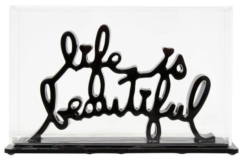 Mr. Brainwash, 'Life Is Beautiful - Dipped Black', 2020, Sculpture, Acrylic dipped cast resin sculpture in plexiglass enclosure, Taglialatella Galleries