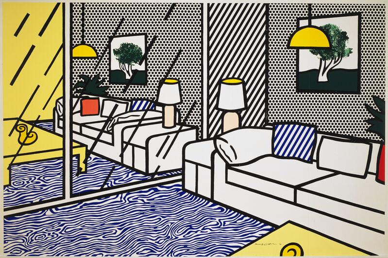 Roy Lichtenstein, 'Wallpaper with Blue Floor Interior', 1992, Print, 5-panel, 9-color screenprint, Gemini G.E.L. at Joni Moisant Weyl