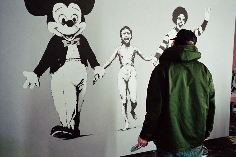 James Pfaff, 'Banksy, Can't Beat the Feeling (Painting the Canvas Session II), London, 2004 (Medium)', [2004/2021], Photography, Analogue C-type print on archival Fujicolor paper, aluminium, artist's frame, Artificial Gallery
