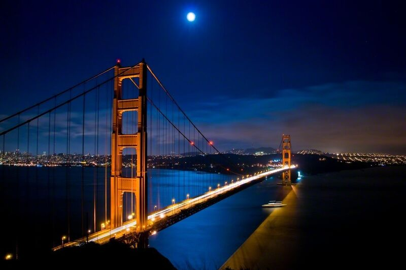 Noel Kerns, 'Blue Moon at the Golden Gate', 2020, Photography, Hahnemühle 100% cotton rag paper with archival epson inkjet pigments, ArtStar