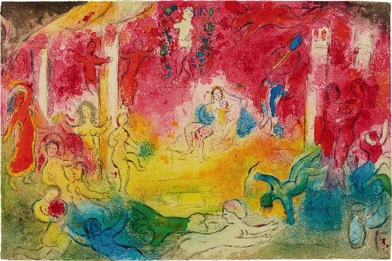 Marc Chagall, 'Temple et histoire de bacchus (Temple and History of Bacchus) pl. 39, from Daphnis et Chloé', 1961, Print, Lithograph in colors, on Arches paper, the full sheet with central vertical fold (as issued)., Phillips