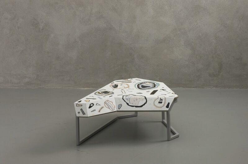 Bethan Laura Wood, 'Low/high tables Landscape furniture', Design/Decorative Art, Laminate marquetry, birch wood, steel frame, Nilufar Gallery