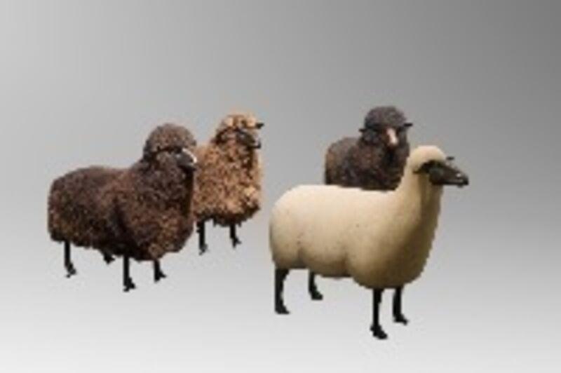 François-Xavier Lalanne, 'Sheeps', ca. 1980, Design/Decorative Art, Wool, bronze, wood, Jean-David Botella