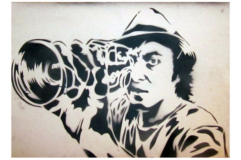 Mr. Brainwash, 'Self Portrait', 2008, Painting, Stencil on found card with spray paint, Chiswick Auctions