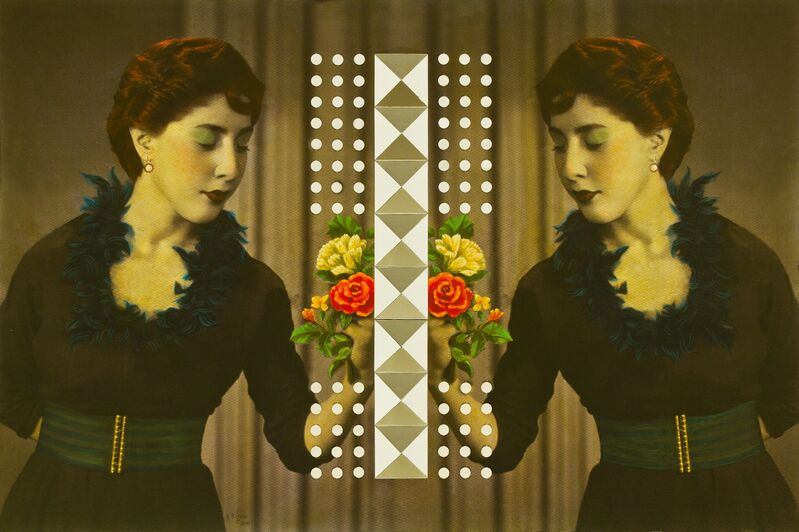 Samira Alikhanzadeh, 'Peace (from the series Double)', 2013, Mixed Media, Archival digital pigment print, mirror fragments, and acrylic on Masonite, Robert Klein Gallery