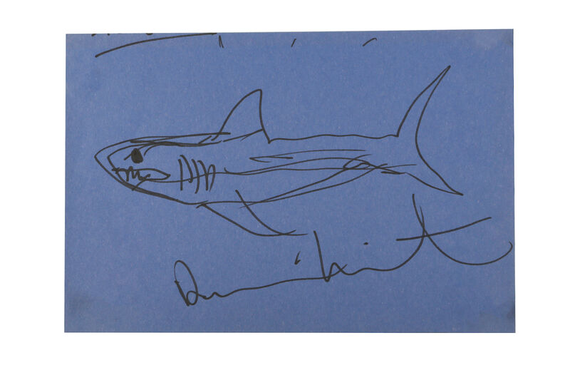 Damien Hirst, 'Shark', Drawing, Collage or other Work on Paper, Ink on blue paper, Chiswick Auctions
