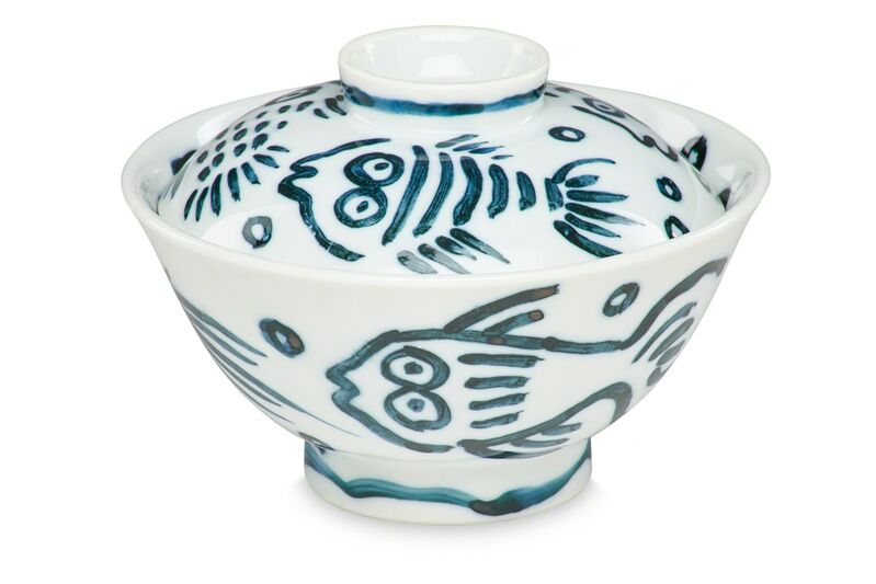 Keith Haring, 'Untitled (Pop Shop Tokyo, Rice Bowl)', 1987, Textile Arts, Unique ceramic bowl and lid painted in dark teal with glaze, Rago/Wright