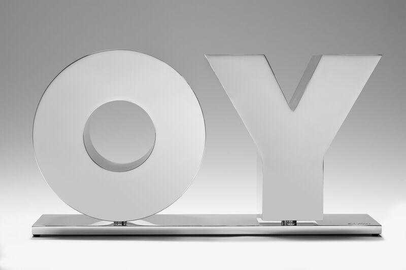 Deborah Kass, 'OY/YO (Polished Aluminum / Silver)', 2020, Sculpture, Solid aluminum polished to a high-gloss and mounted on a polished aluminum base, Gavlak