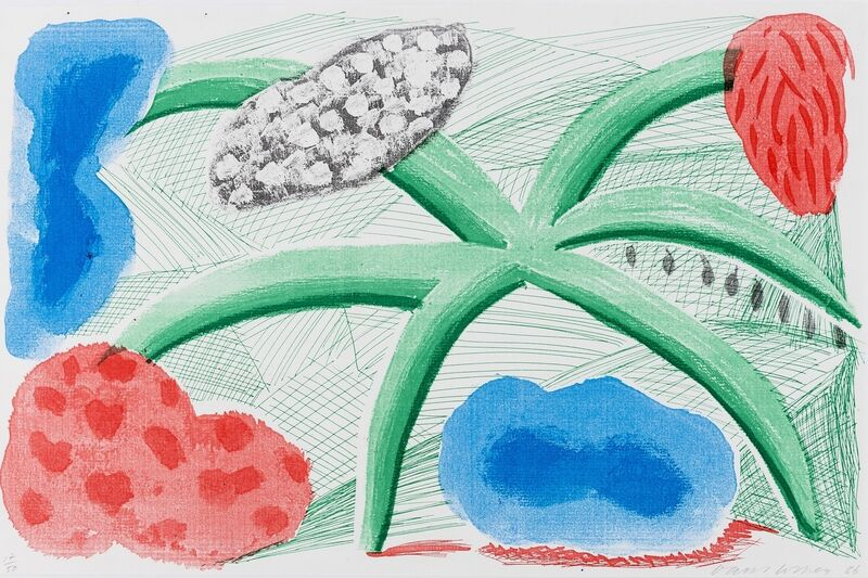 David Hockney, 'Landscape with a plant (Tokyo 293)', 1986, Print, Homemade print executed on an office colour copy machine in colours, Forum Auctions