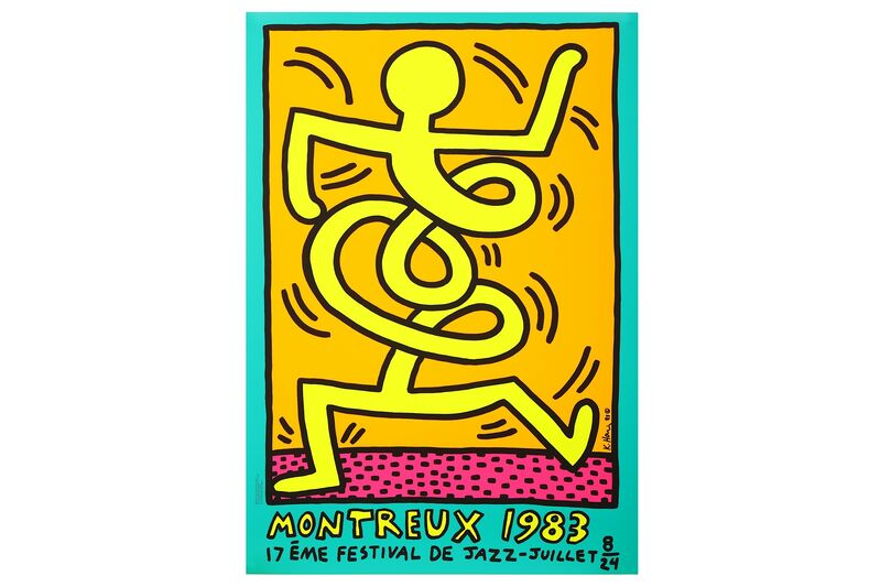 Keith Haring, 'Montreux Jazz Festival, 1983 (Green)', 1983, Print, Screenprint in colours on wove paper, Chiswick Auctions