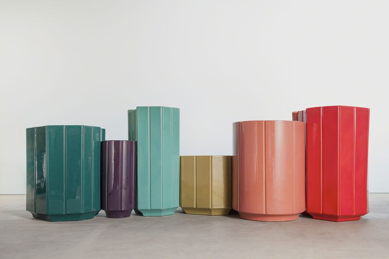 India Mahdavi, 'Landscapes Vases series 2 (S2) SET OF 6, in limited edition of 6 colours - canard blue, chartreuse, aubergine, rose, turquoise, rouge.', 2013, Design/Decorative Art, Glazed ceramic with/without pure gold interior coating, Carwan Gallery