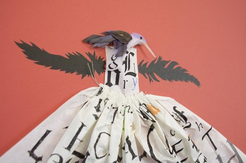 Lesley Dill, 'Hummingbird Dress: Red', 2013, Print, Eight-color lithograph with collaged three dimensional elements, Tamarind Institute