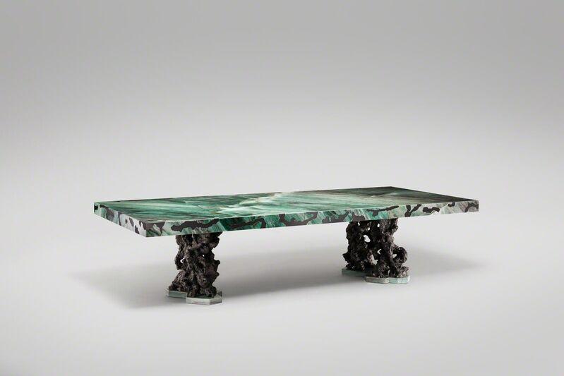 Mattia Bonetti, 'Dining Table 'Rock' ', 2017, Design/Decorative Art, Bronze, emerald quartz, patinated brass, David Gill Gallery