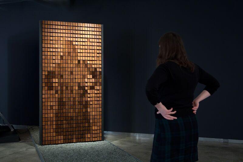 Daniel Rozin, 'Rust Mirror', 2010, Sculpture, 768 oxidized steel tiles, motors, control electronics, video camera, custom software, microcontroller, bitforms gallery