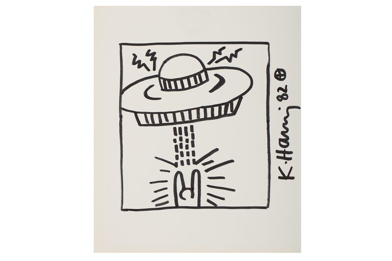 Keith Haring, 'Untitled (Man With UFO)', 1982, Original drawing, felt tip on paper, Chiswick Auctions