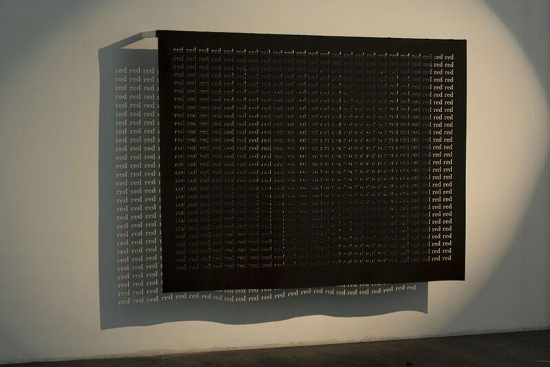 Rosa Barba, 'Red', 2014, Installation, Cut-out text on felt, spotlight, Vistamare/Vistamarestudio