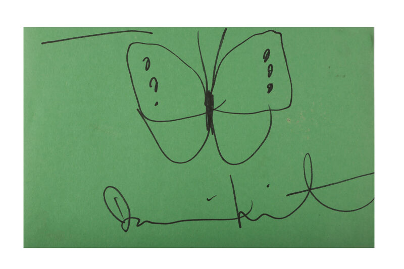 Damien Hirst, 'Butterfly, green', Drawing, Collage or other Work on Paper, Ink on green paper, Chiswick Auctions