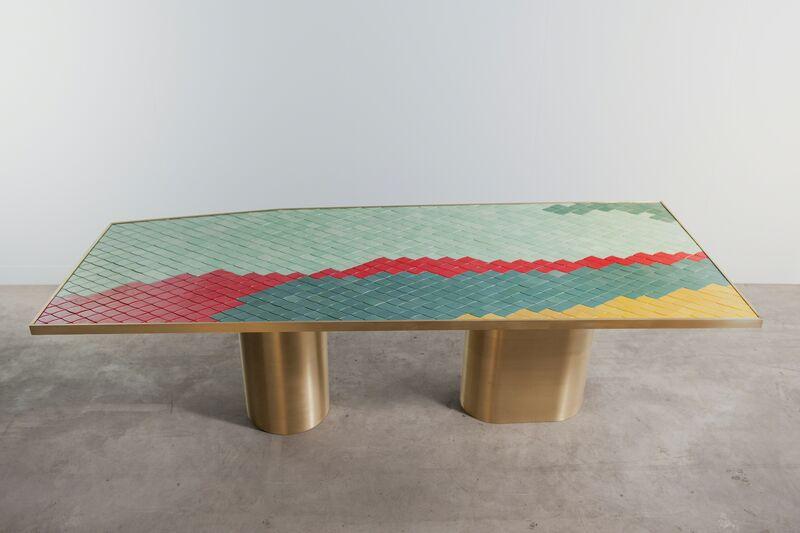 India Mahdavi, 'Landscapes table #1', Design/Decorative Art, Handmade ceramic mosaic and pure brass structure, Carwan Gallery