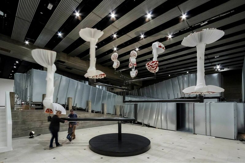 Carsten Höller, 'Flying Mushrooms', 2015, Sculpture, Polyester mushroom replicas, polyester paint, synthetic resin, acrylic paint, wire, putty, polyurethane, rigid foam, stainless steel, Gagosian