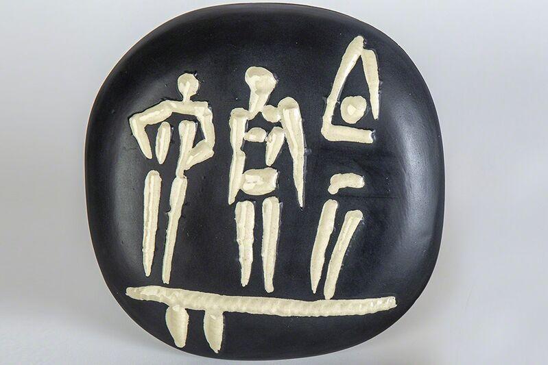 Pablo Picasso, 'Orig Trois Personnages Sur Tremplin AR 374 Signed Ceramic Plate', 1956, Sculpture, Ceramic, Modern Artifact