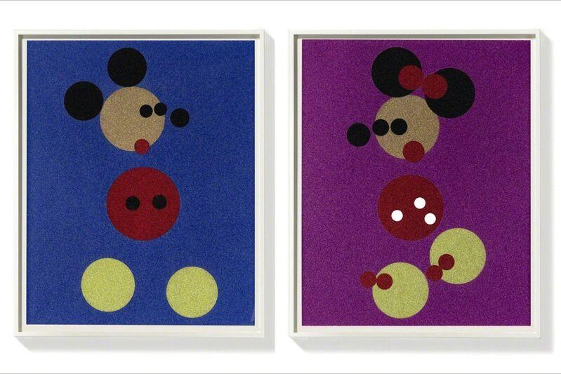 Damien Hirst, 'Mickey (Blue Glitter) & Minnie (Pink Glitter) ', 2016, Print, Silkscreen with glitter, Fine Art Mia