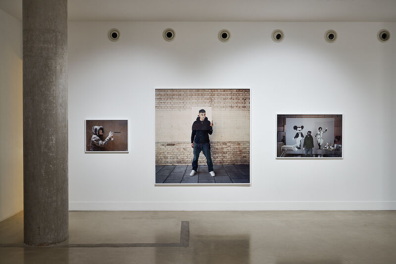 James Pfaff, 'Banksy, Welder's Mask Session, London, 2004 (Medium)', [2004/2021], Photography, Analogue C-type print on archival Fujicolor paper, aluminium, artist's frame, Artificial Gallery