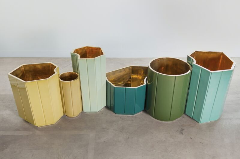 India Mahdavi, 'Landscapes Vases series 1 (S1) FULL SET OF 6 in limited edition of 6 colours - yellow, canard blue, celadon, forest green, celadon, turquoise. individual prices on the next page, total series price', 2013, Design/Decorative Art, Glazed ceramic with pure gold interior coating, Carwan Gallery