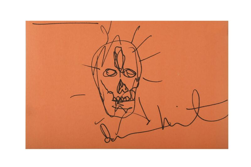 Damien Hirst, 'Skull, orange', Drawing, Collage or other Work on Paper, Ink on orange paper, Chiswick Auctions