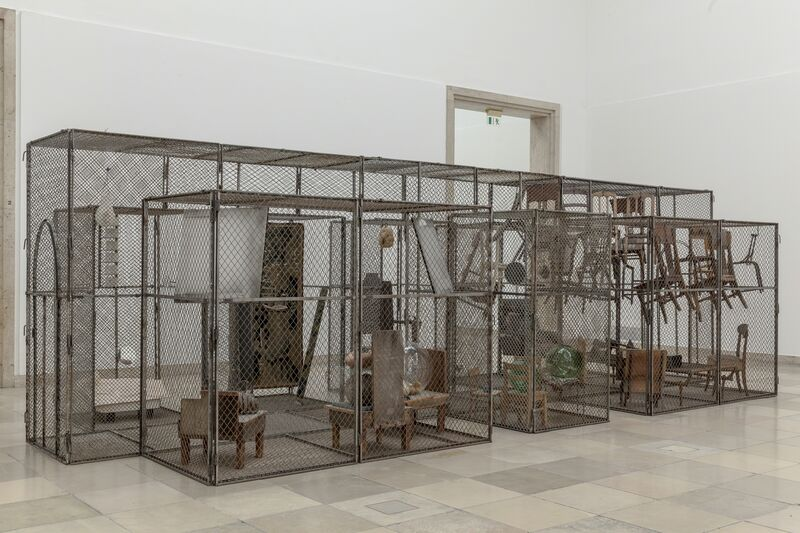 Louise Bourgeois, 'Passage Dangereux', 1997, Sculpture, Metal, wood, tapestry, rubber, marble, steel, glass, bronze, bones, flax and mirrors, Guggenheim Museum Bilbao