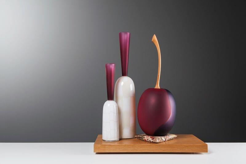 Nick Mount, 'Two Bottles and Plum', 2018, Sculpture, Glass, murrini, Huan stem and Oak, HABATAT